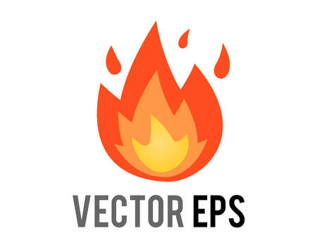 The isolated vector cartoon-styled depicted as a red, orange and yellow flickering flame fire icon