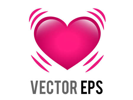 The isolated vector glossy pink beating heart icon with vibration movement lines, representing either life, or love