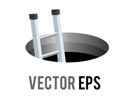 The isolated vector round black cartoon styled hole, manhole icon with silver metal stairs