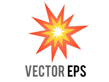 The isolated vector cartoon-styled red, yellow fiery burst collision star icon 矢量图像