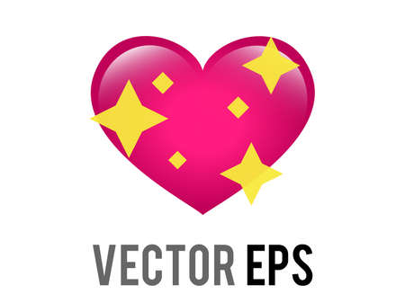 The isolated vector glossy pink love heart icon with sparkling stars, used for expressions of shimmering