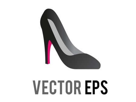 The isolated vector fashionable black and red formal high heeled shoe icon for social occasions, events or work places