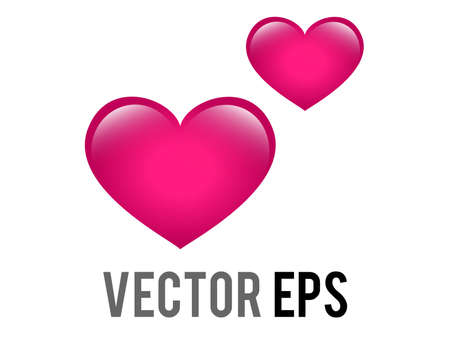 The isolated vector two love pink glossy hearts icon, used for expressions of love is in the air
