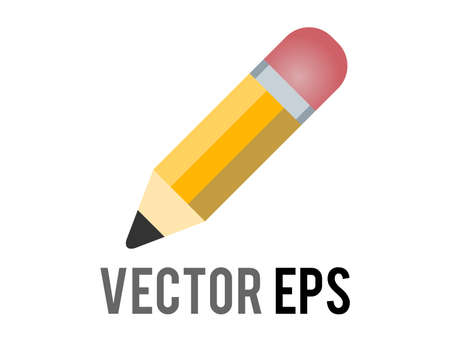 The isolated vector classic yellow pencil icon with sharpened tip, pink eraser, used for content concerning writing, drawing and schooling