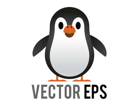 The isolated vector black and white penguin icon with white belly, orange month 矢量图像