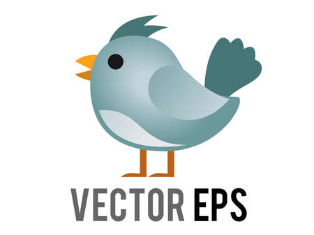 The isolated vector blue generic bird, bluebird or cardinal icon with eye and grey month in side view