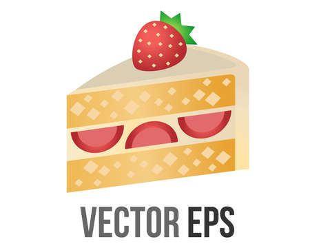 The isolated vector slice of strawberry shortcake icon, layered with whipped cream and topped with whole strawberry, represent birthday celebrations or cake in general
