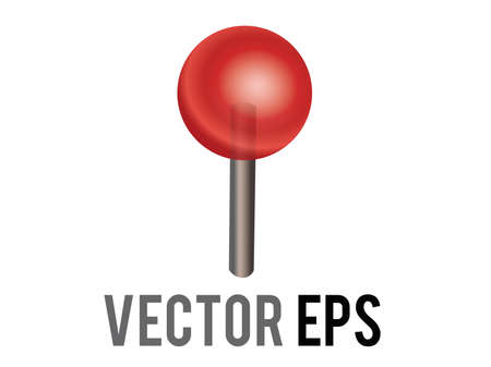 The isolated vector red round head location pushpin icon