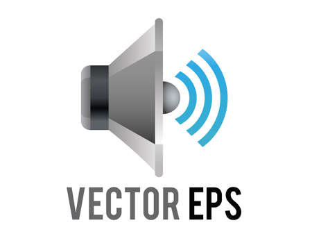 The isolated vector silver and black circle sound music muted speaker high volume cone displayed icon without any sound waves  in side view