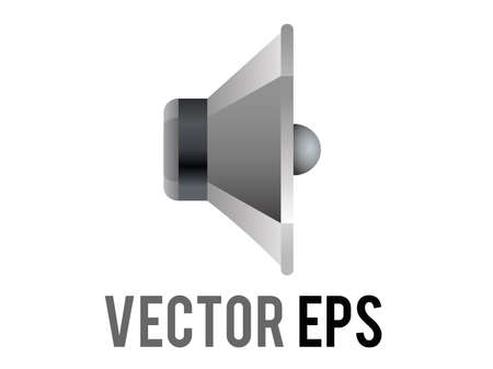 The isolated vector silver and black circle sound music speaker cone displayed icon without any sound waves