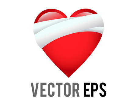 The isolated vector classic love red glossy mending heart icon with bandage across one side, used for healing, recovery, or to express sympathy for someone going through a difficult time