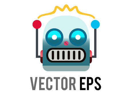 The isolated vector head of classic vintage tin toy grimace robot icon with circular eyes, triangular nose, knobs for ears