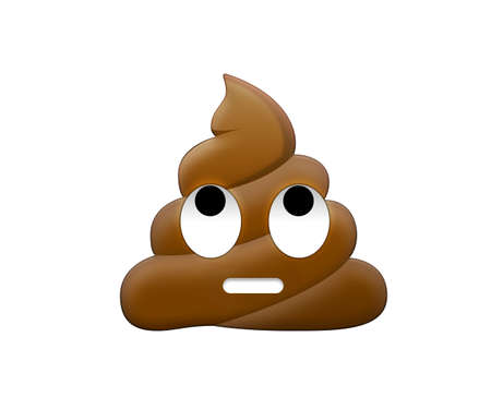 The isolated brown depressed feces head with eye and mouth icon with eyes up