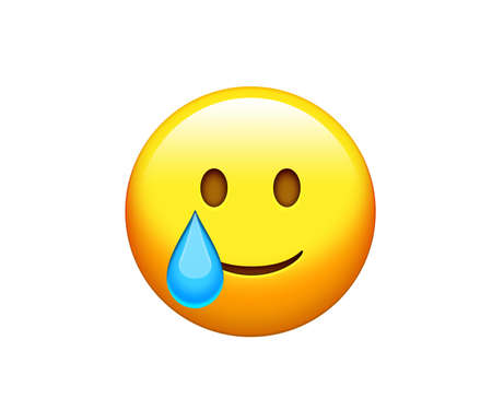 The isolated yellow delightful smiling Face with tear face icon