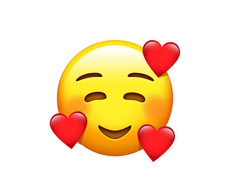 The isolated yellow red cheek smiling face with face with hearts icon