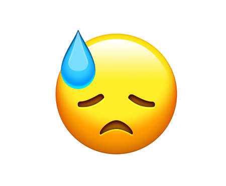 The emoji yellow downcast, disappointed, upset and closing eyes head face icon with sweat