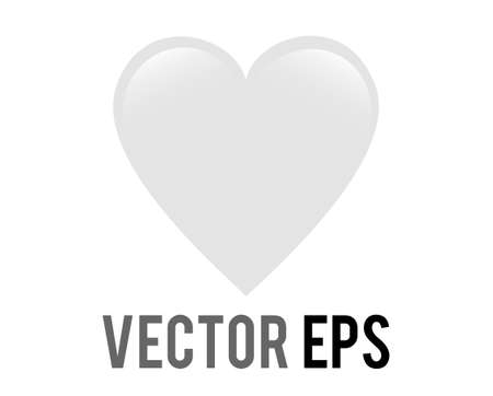 The isolated vector classic love white glossy heart icon, used for expressions of love passion and romance
