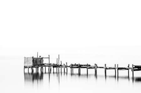 stillness: Pier stillness (High-Contrast Black & White)