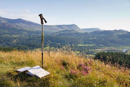 walking pole: Walking in Snowdonia,  Wales, UK Stock Photo