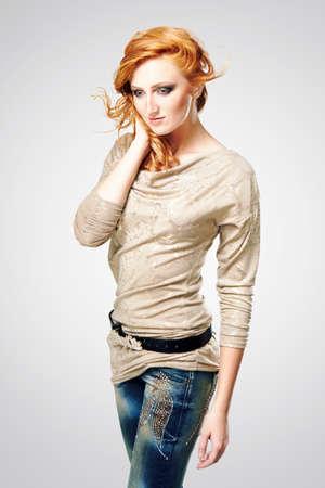 fashion photos: Girl posing in studio for fashion photos