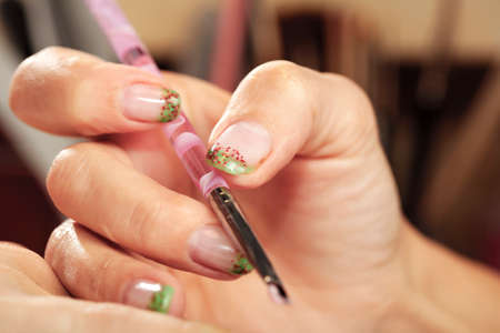 gels: Making nails - applying gels and colors in nail studio