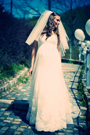 bridal gown: Nice young woman on wedding day - bride in bridal gown