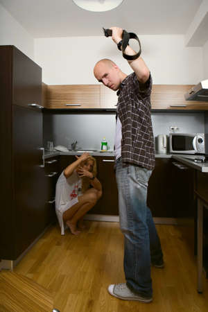 hassle: Couple in conflict - domestic violence and problems of couple relations Stock Photo
