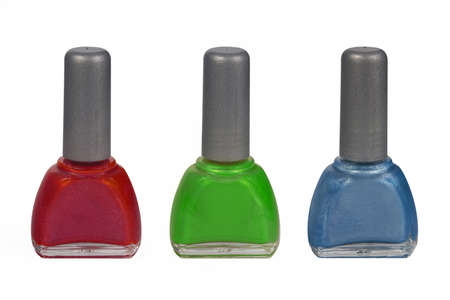 Nail enamels in rgb colors for nail art and decorating isolated on white background