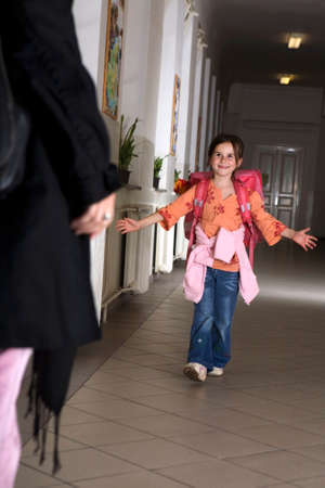 pedagogy: Girl at school - leaving first class Stock Photo