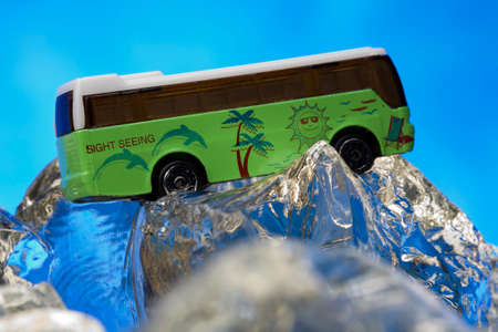 sight seeing: Sight seeing bus model on ice rocks