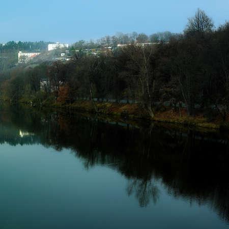 vltava: Prague and Vltava river near Holesovice Stock Photo