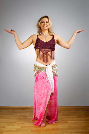 esoteric: Woman of esoteric soul in studio dressed like a belly dancer.