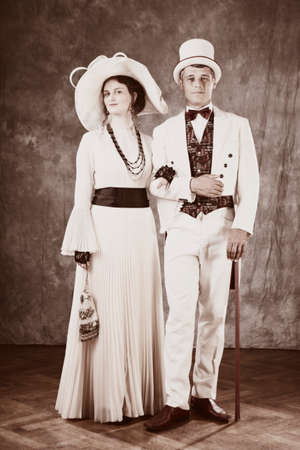 sedition: Spouses of past - secession style pair posing in studio as married couple. Stock Photo