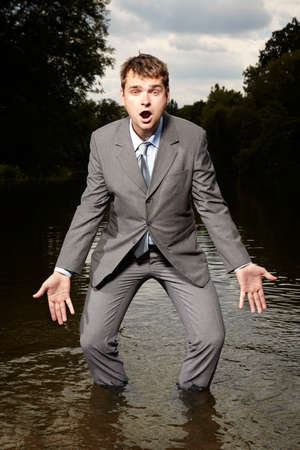 freak out: Flowing into his shoes Stock Photo