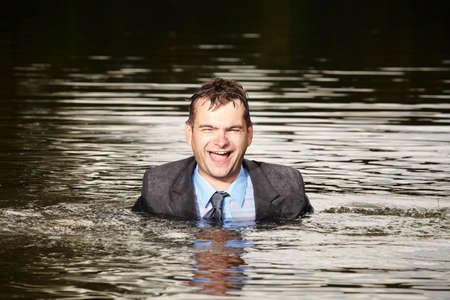 freak out: Funny manager swimming in summer river