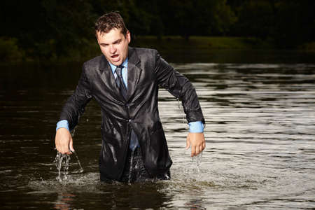 freak out: This manager needs save his life Stock Photo
