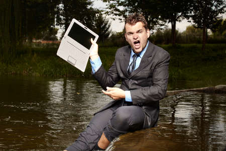 freak out: His notebook does not work Stock Photo
