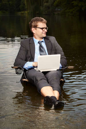freak out: Crazy manager in suit relaxing after burning out