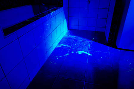 developing: Developing of evidence on place of crime under UV light