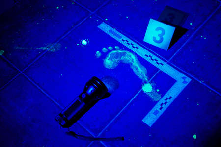 theft proof: Evidence on place of bloody crime under UV light