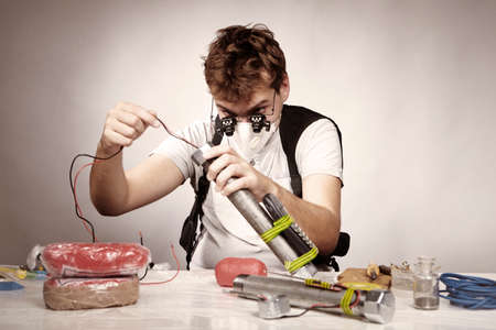 detonator: Illegal bomb maker working with detonator