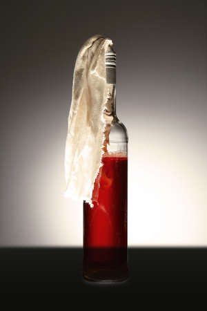 sabotage: Classic type of molotov coctail with rags ready to use