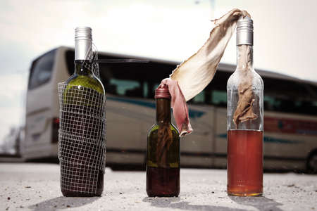Several types of molotov coctail with rags ready to use Stock Photo