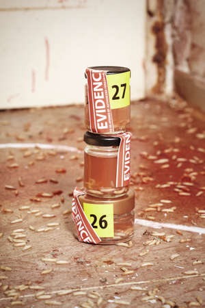 Collected fly larva on crime scene in glass bottles Stock Photo