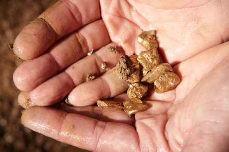 Detail of golden nuggets found by today prospector in sand of creek Stok Fotoğraf - 84256430