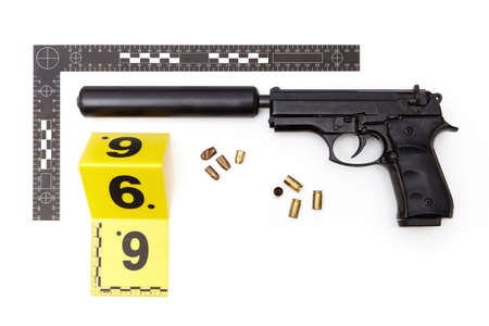 Police evidence of handgun with illegal silencer and ammunition