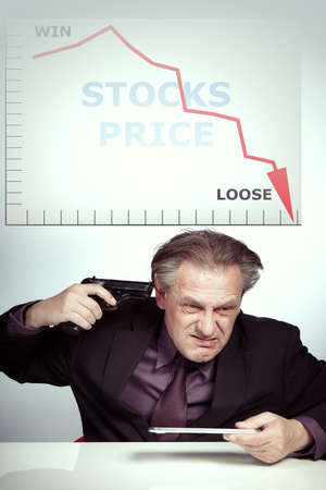 Man in suit is desperate about priceless stocks and planning to end his life by handgun