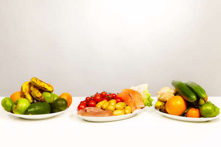 Healthy food menu good for fitness on plates Stock Photo