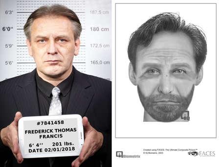 Older criminal man and his original police sketch drawing leading to arrest