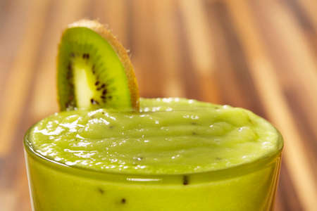 Fresh smoothie drink made of avocado and kiwi